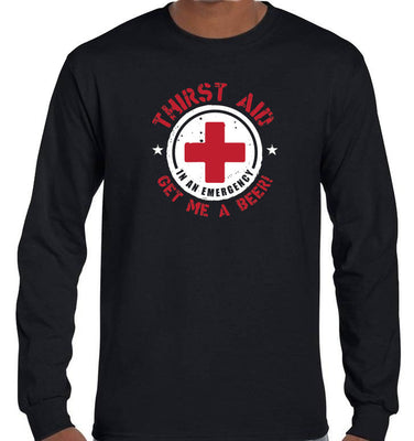 Thirst Aid Beer Longsleeve T-Shirt (Black, Regular and Big Sizes)