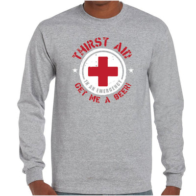 Thirst Aid Beer Longsleeve T-Shirt (Grey, Regular and Big Sizes)