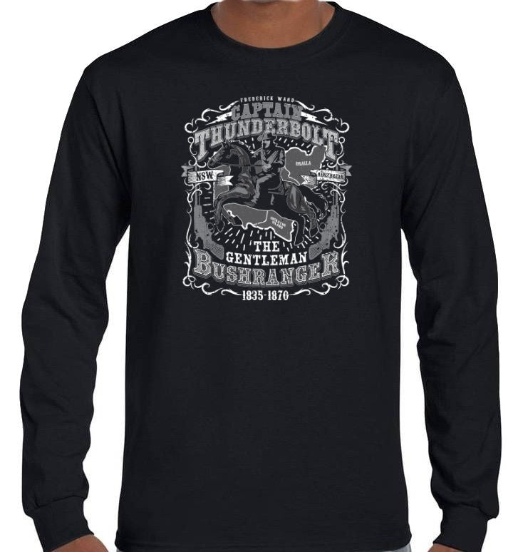 Captain Thunderbolt The Gentleman Bushranger Longsleeve T-Shirt (Black, Regular and Big Sizes)