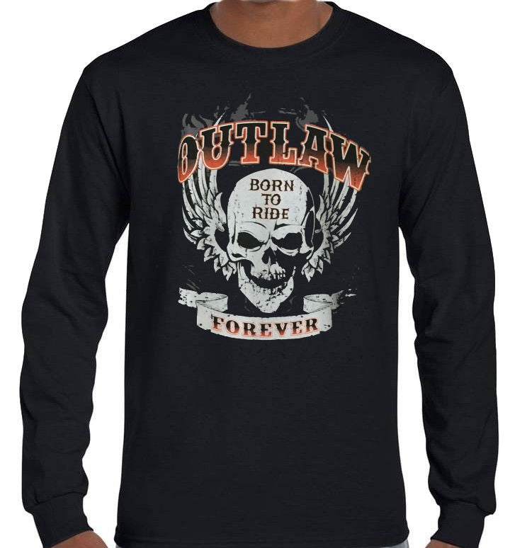 Outlaw Forever Longsleeve T-Shirt (Black, Regular and Big Sizes)