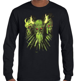 Viking Skulls Longsleeve T-Shirt (Black, Regular and Big Sizes)