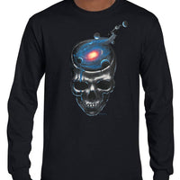 Spaced Out Skull Longsleeve T-Shirt (Black)