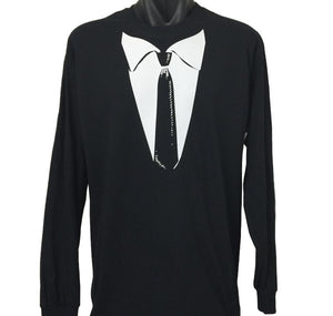 Formal Black Tie Long Sleeve T-Shirt (Regular and Big Mens Sizes)