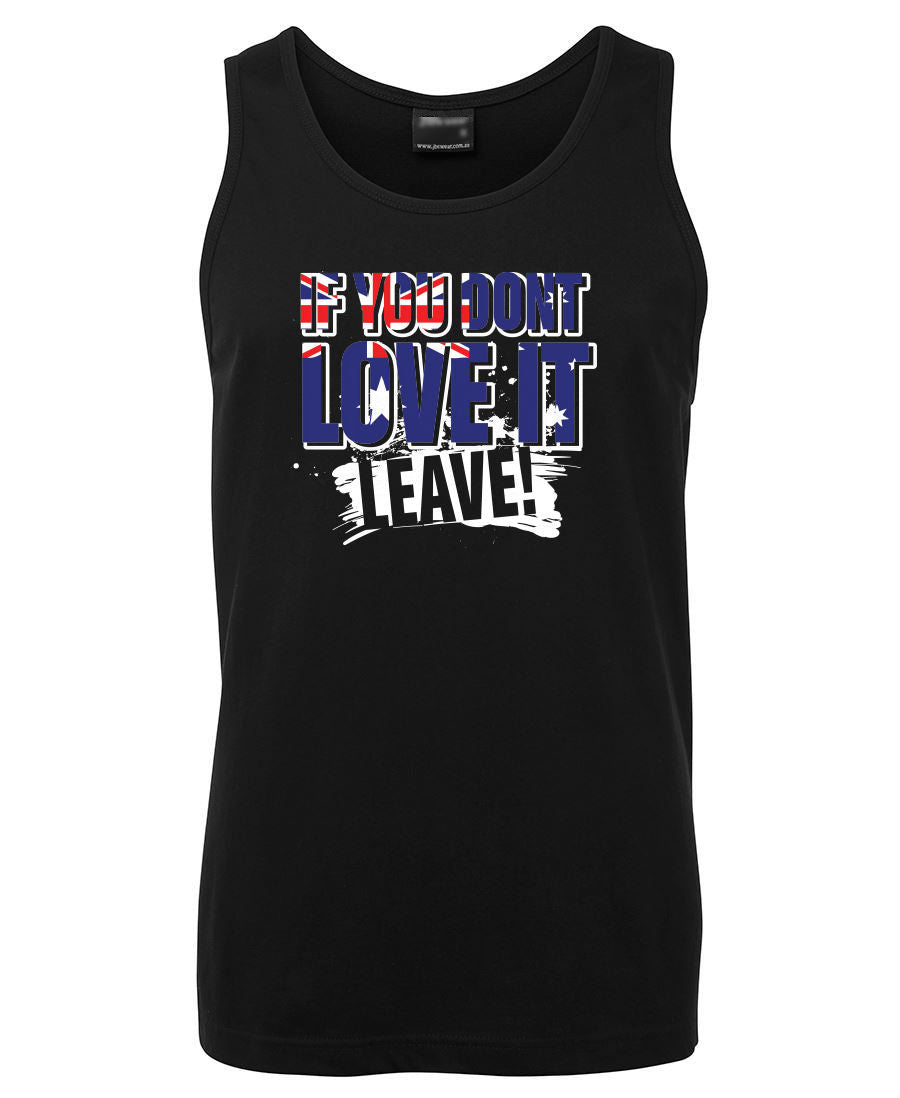 Love it or Leave Australian Flag Mens Singlet (Black)
