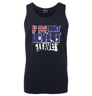 Love it or Leave Australian Flag Mens Singlet (Navy)