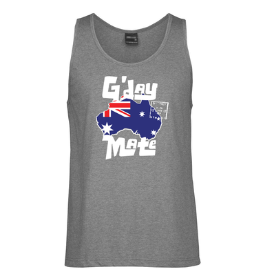 G'day Mate Map Mens Singlet (Darker Grey)