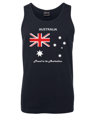Proud to be Australian (Flag) Mens Singlet (Navy)
