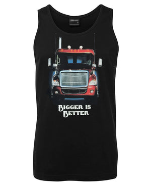 Bigger is Better Trucker Mens Singlet (Black)