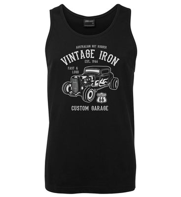 Vintage Iron Hot Rod Mens Singlet (Black)