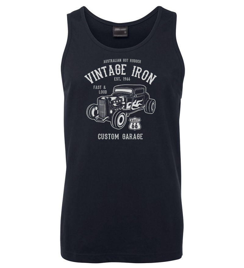 Vintage Iron Hot Rod Mens Singlet (Navy)