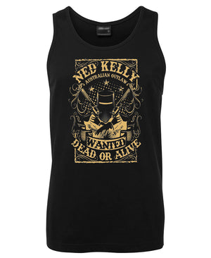 Ned Kelly Dead or Alive Mens Singlet (Black & Gold)