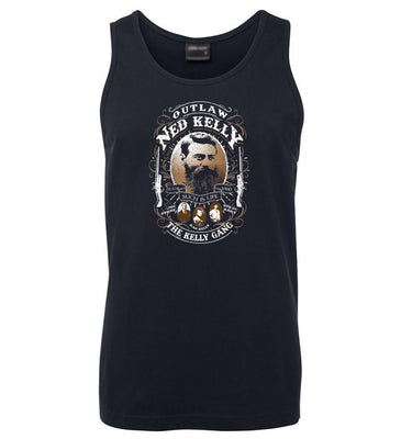 Ned Kelly Outlaw Gang Mens Singlet (Navy)
