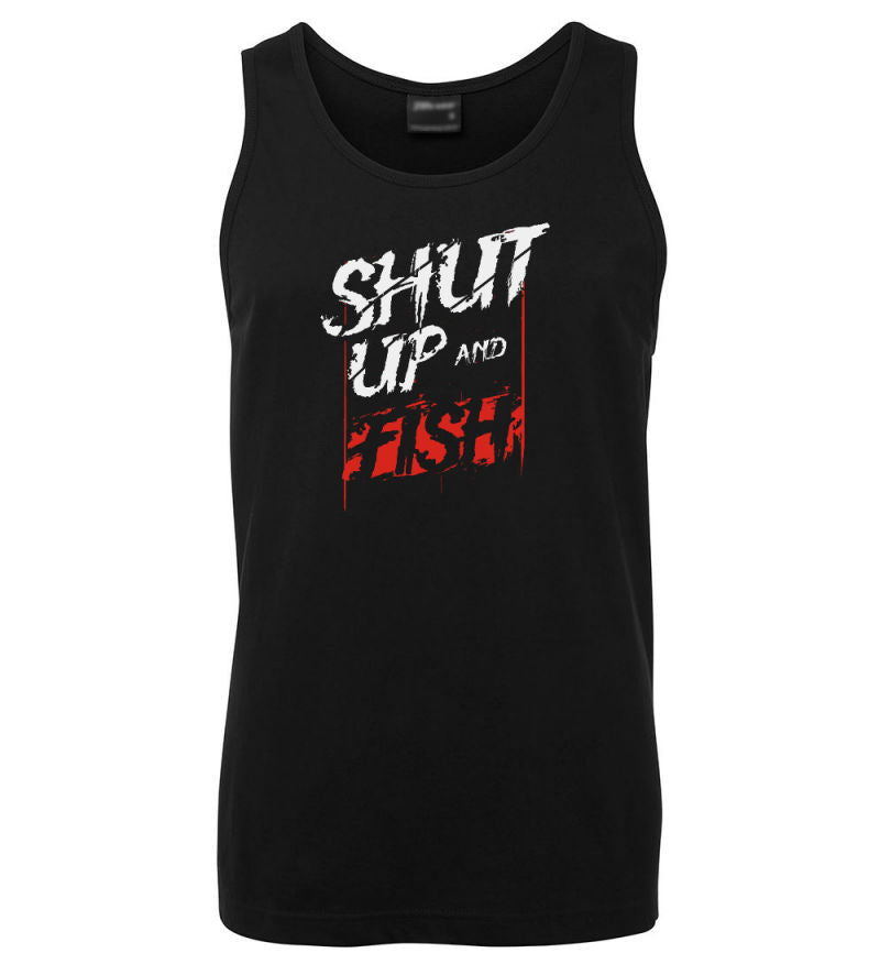 Shut Up & Fish Mens Singlet (Black)