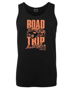 Road Trip Australia Mens Singlet (Black)