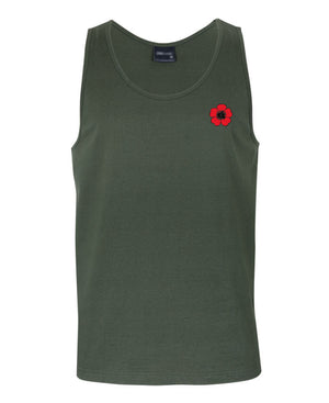 Lest We Forget Mens Singlet (Khaki, Front)