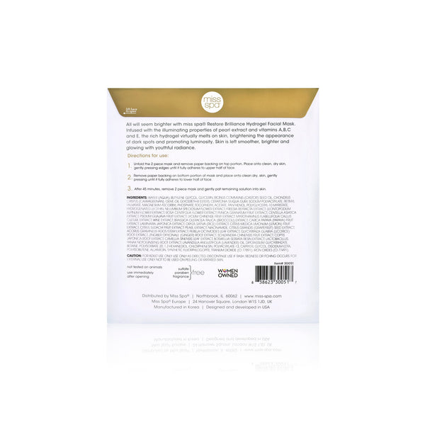 Restore Brilliance Hydrogel Facial Mask  directions