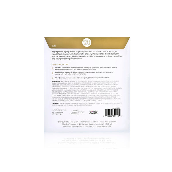 Ultra Define Hydrogel Facial Mask directions