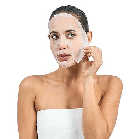 miss spa age defy facial sheet mask with model