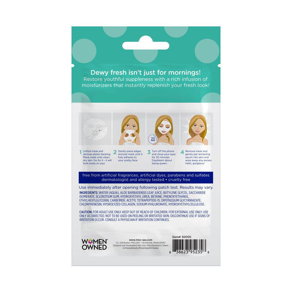 miss spa hydrate facial sheet mask back image