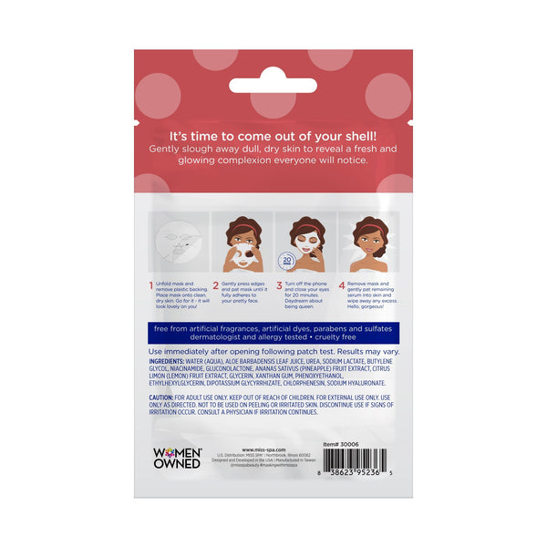miss spa exfoliate facial sheet mask back image