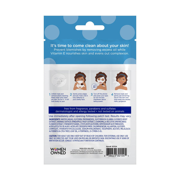 miss spa deep clean facial sheet mask back image