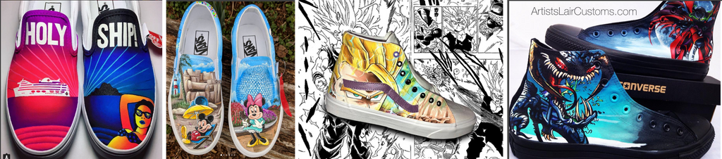Canvas customs from left to right by @7maryart, @shopgigicustoms, @vanimesole, and @artistslair.