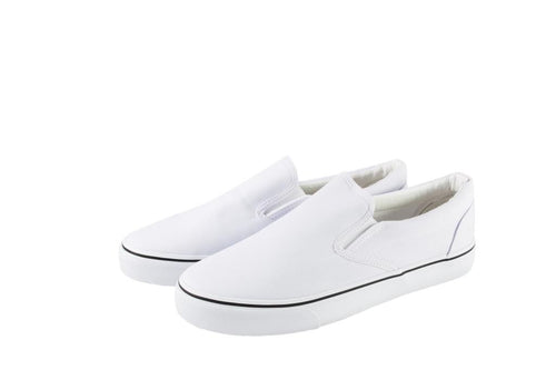 Just1 Shoes Brand - Adult White Canvas Slip-On Shoes
