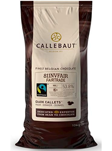 Callebaut Fairtrade 811NVFAIR 54% Dark Chocolate Couverture Callets 10kg 22LBS(1 pack)