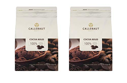 Callebaut CM-CAL-595 Pure 100% Cocoa Mass (Cocoa Liquor) - Unsweetened Baking Callets - 2 x 5.5 Lbs (2.5 kg) - (2 pack)
