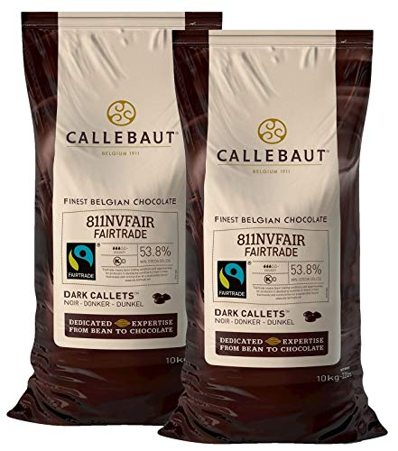 Callebaut Fairtrade 811NVFAIR 54% Dark Chocolate Couverture Callets 10kg 22LBS(Two- pack)
