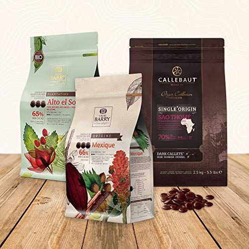 Barry Callebaut Single Origin Chocolate Bundle, Dark Cacao Baking Chocolate Callets from Sao Thomé, Peru, and Mexico