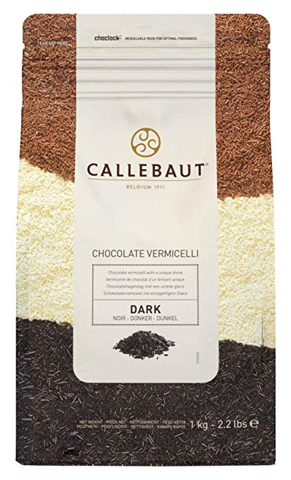 Cacao Barry Callebaut 100% Dark Semi Sweet Chocolate Vermicelli. Chocolate Sprinkles with an intense cocoa taste. 43.1% Cocoa. 2.2 Lbs (1 Kg)