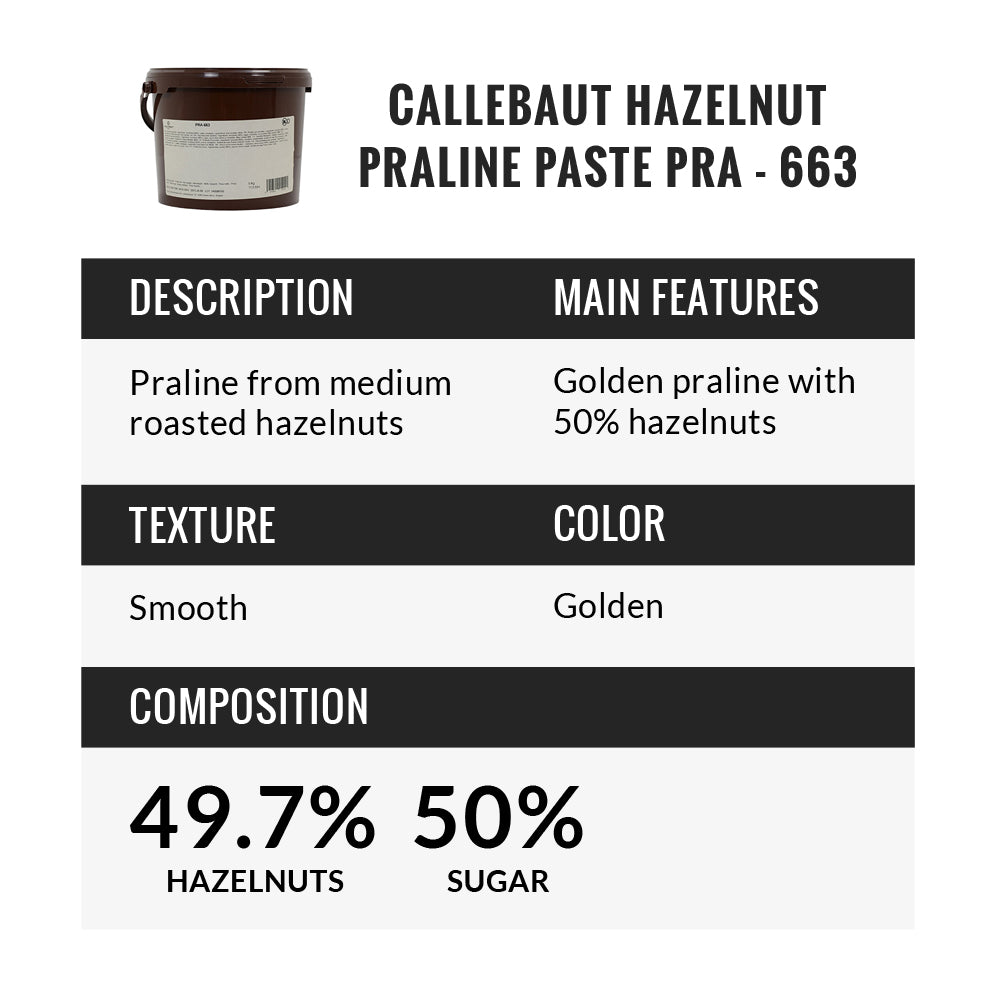 Callebaut Hazelnut Praline Paste With 50% Hazelnuts, 11.02 Pound