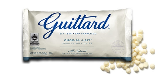 Guittard 9930 White Milk Baking Chocolate Maxi Chips, 25Lb