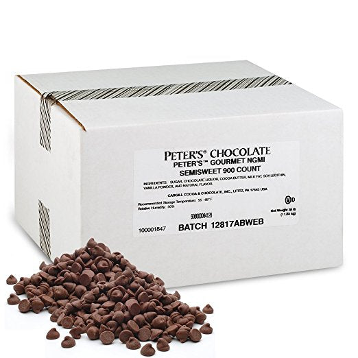 Peter's Gourmet Semisweet Chocolate Chips, 25Lb