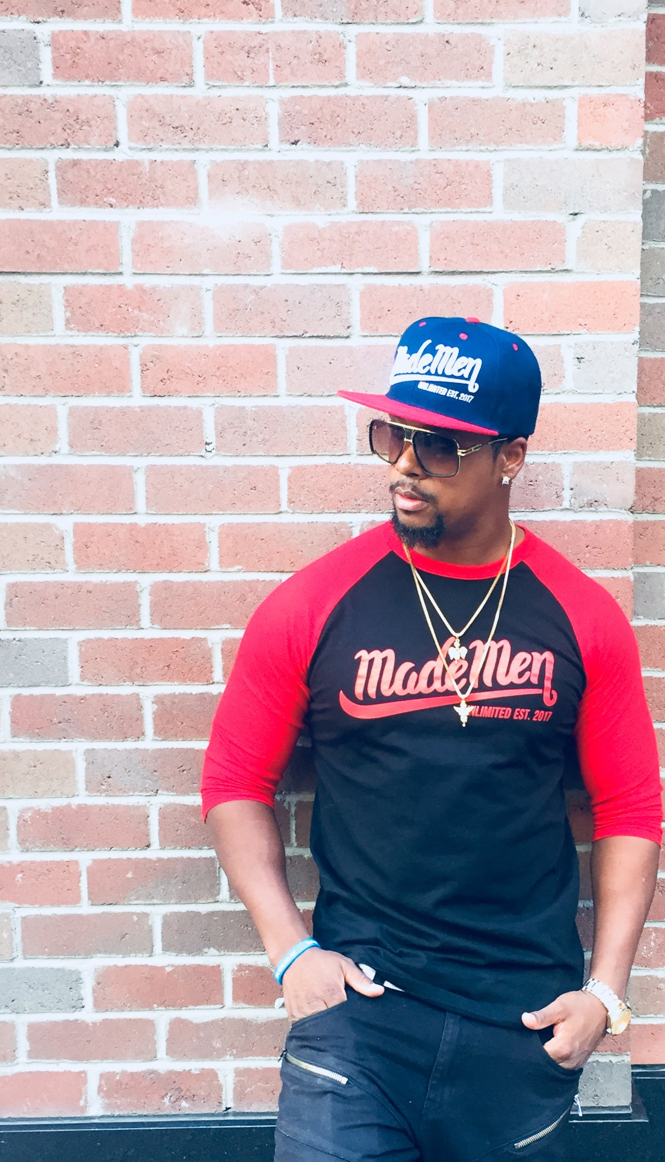 Black/ Red Made Men Unlimited Baseball Tee