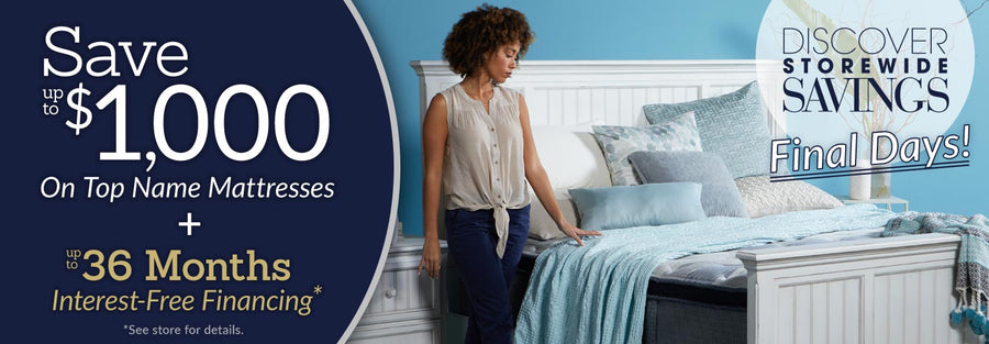Save up to$1,000 on Top Name Mattresses Collection Phone Banner
