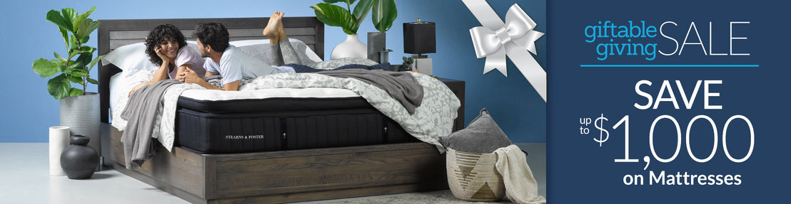 Giftable Giving Sale - Save up to $1,000 on Mattresses Collection Desktop Banner