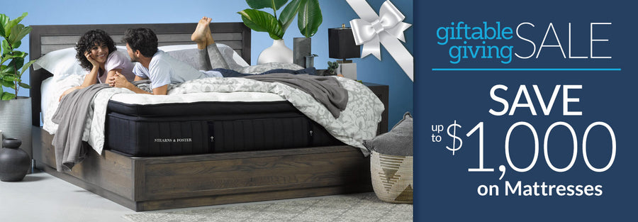 Giftable Giving Sale - Save up to $1,000 on Mattresses Collection Phone Banner