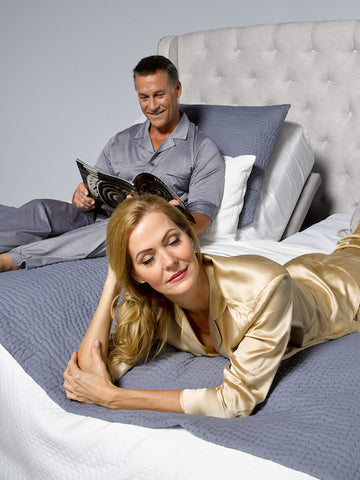 Couple on an adjustable bed