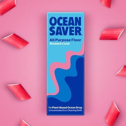 OceanSaver refillable cleaning dissolvable drops zero waste floor cleaner all purpose rhubarb
