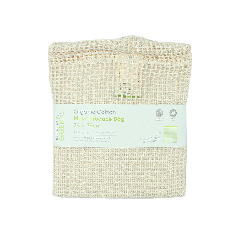 Large Organic Cotton Mesh Produce Bag | A Slice of Green