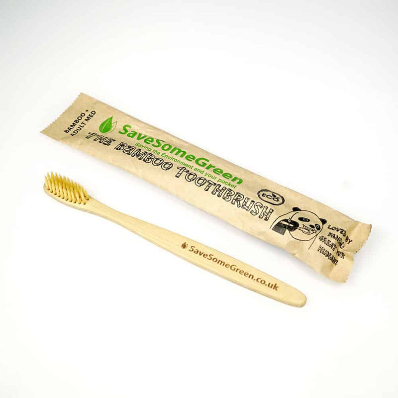 bamboo wooden plastic free toothbrush save some green medium bristles