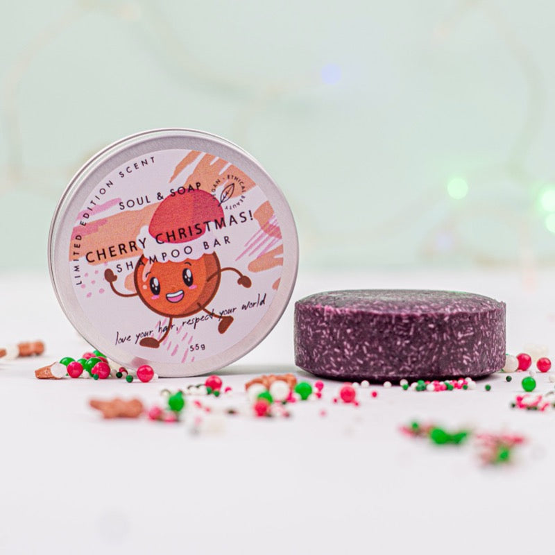 soul and soap cherry merry christmas shampoo bar