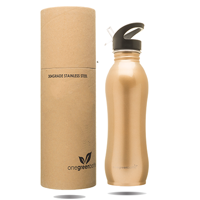 One Green Bottle Stainless Steel Bottle - Curvy Gold (800ml)