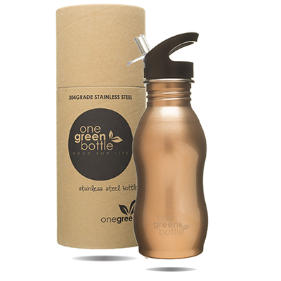 Curvy Stainless Steel Bottle - Gold (500ml) | One Green Bottle