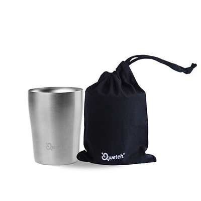 Insulated Stainless Steel Cup with Black Bag - 250ml | Qwetch