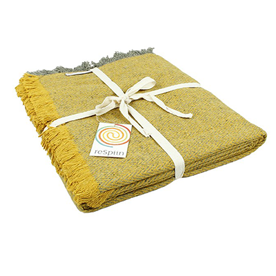 Recycled Wool Throw - Zig Zag Saffron | ReSpiin
