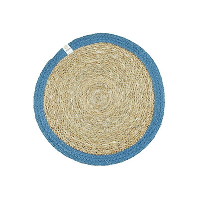 ReSpiin Round Seagrass & Jute Table Mat - Natural/Denim