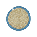 Round Seagrass & Jute Table Mat - Natural/Denim | ReSpiin